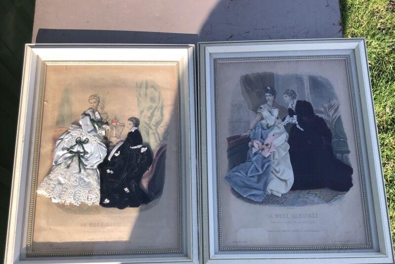 Antique Pair La Mode Illustree Shadow Box Leroy.Imp.Paris Reproduction Interdite
