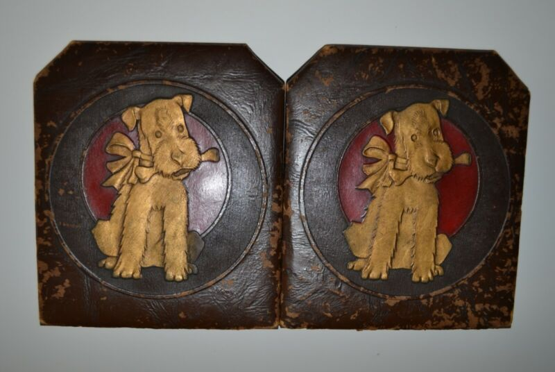 """VINTAGE BOOKENDS (DECORATED WITH A DOG) 5"""" WIDE 6"""" TALL"""