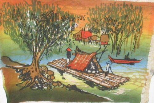 MALAYLSIAN LOG RAFT ORIGINAL BATIK PAINTING UNSIGNED