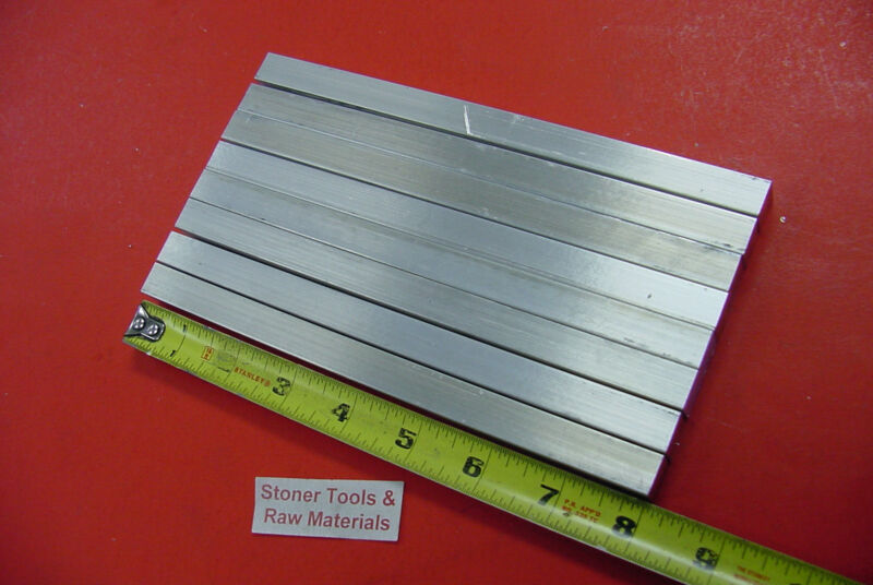 "8 Pieces 1/2"" X 1/2"" ALUMINUM 6061 SQUARE FLAT BAR 8"" long Mill Stock .500 T6511"