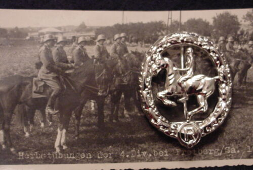 GERMAN WWII WEHRMACHT CAVALRY- EQUESTRIAN / HORSEMANSHIP BADGE IN SILVER - REPRO
