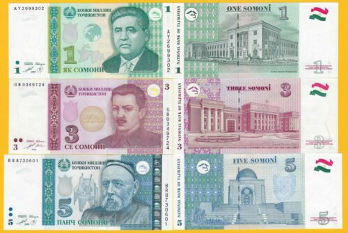 TajikistanSet 1, 3, 5 Somoni 1999-2010 UNC Banknotes