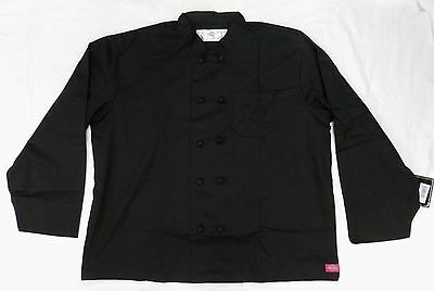 Dickies CW070304B Cloth Knot Button Black Uniform Chef Coat Jacket 2X New
