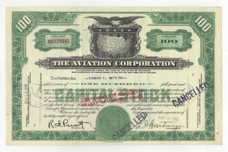 Aviation Corporation Stock Certificate
