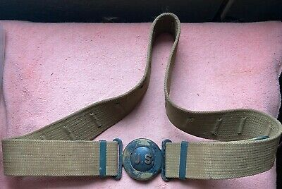 1907 Mills US Cavalry Brass Belt Buckle With Canvas Kakki Color Web Belt