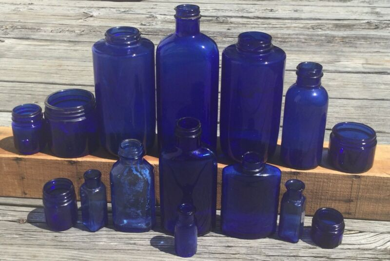 VTG ANTIQUE COBALT BLUE GLASS APOTHECARY MEDICAL BOTTLE JAR PHILLIP LOT OF 15