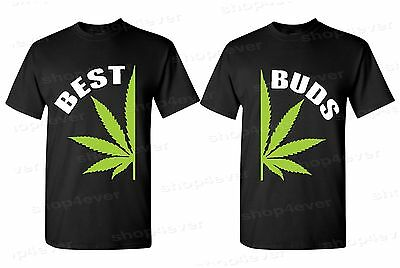 Best Buds Pot Leaf Couples Mens T Shirts Marijuana Weed Kush Stoner Black Shirts