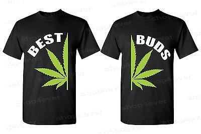 Best Buds Pot Leaf Couples Mens T-Shirts Marijuana Weed Kush Stoner Black