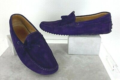 Tod's Mens 8 US 41 EU 7 UK Gommino Purple Suede Leather Loafers Driving Shoes