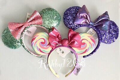 Disney Purple Potion Mint Green Pink Swirl Lollipop Minnie Ears Headbands](Pink And Green Lollipops)