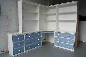 Large White and Blue Corner Desk with Drawers and Hutches Rosebud West Mornington Peninsula Preview