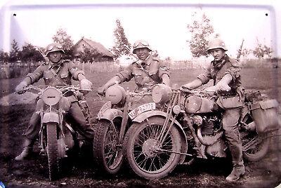 Deutsche Kradmelder Soldaten 2. Weltkrieg Blechschild Schild Tin Sign 20 x 30 cm
