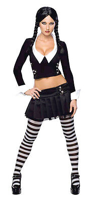 ms Family Gothic Fancy Dress Up Halloween Sexy Adult Costume (Addams Family Wednesday Halloween-kostüm)