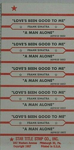 "JUKEBOX TITLE STRIP SHEET - FRANK SINATRA ""Love"