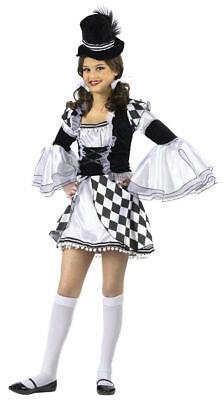Girls Kids Harlow Quinn Halloween Costume Harlequin Black White Clown Medium](Clown Costume Girls)