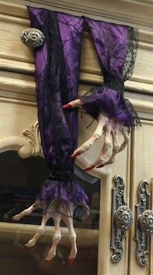Victorian Trading Co Scary Halloween Witch Hands Decoration Purple Sleeves 22
