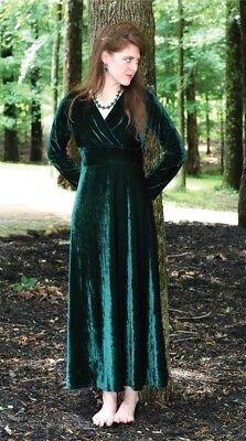 Victorian Trading Co Velvet Green Long V Neck Dress M Free Ship NIB