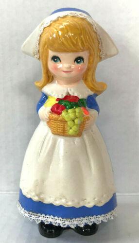 Vintage Napco Napcoware Thanksgiving Pilgrim Girl Fruit Basket 6 Inch - Japan
