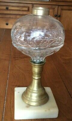 "Antique Oil Lamp Pressed Glass Brass and square Marble Base 8-1/2"" tall"