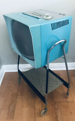 VTG 1957 GE Turquoise Television  Model 17P1330 - On MCM Stand - Retro Cool!