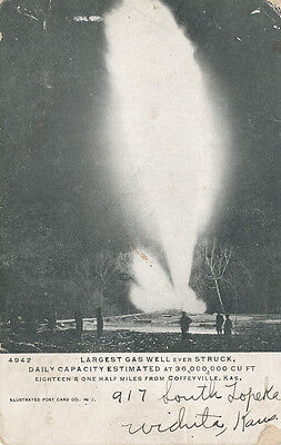 Coffeyville Ks   Largest Gas Well Ever Struck  1906   Montgomery Co