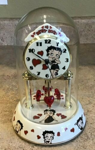 Betty Boop Glass Domed Porcelain Anniversary Clock NB