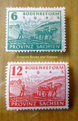 EBS Germany 1946 Soviet Zone SBZ Saxony Land Reform thin paper Mi. 90-91 MNH**