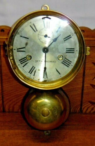 Old Seth Thomas Ships Bell Clock w/ Bell
