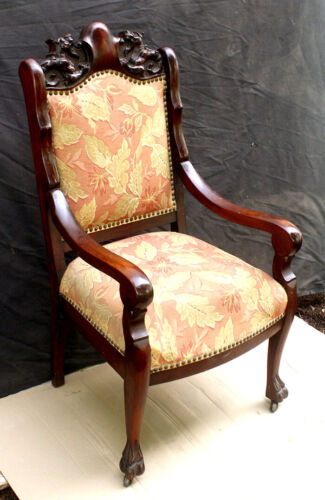 Antique Victorian Carvd Wood Fabric Lounge Parlor Side Accent Armchair Arm Chair