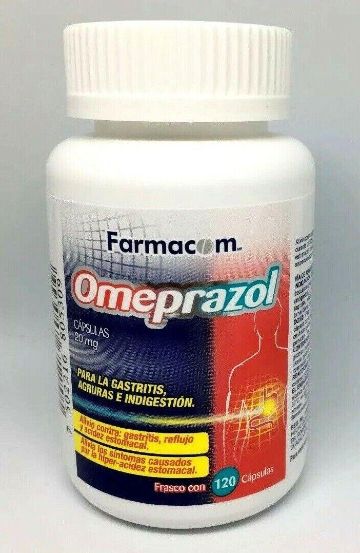 Farmacom Omeprazole 20mg OTC Heartburn 120 Capsules Omeprazol Acid Reducer
