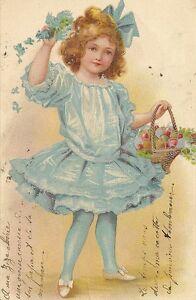 carte postale fantaisie petite fille en robe bleue portant un panier a oeufs ebay. Black Bedroom Furniture Sets. Home Design Ideas