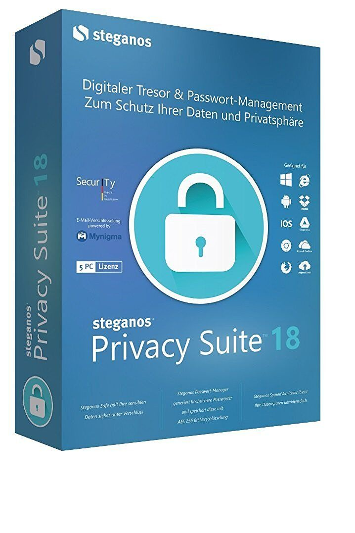 Steganos Privacy Suite 18 ESD / Download Version für 5 PC EAN 4023126118851