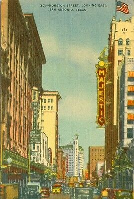 San Antonio, TX The Majestic and Cunter Hotel on Houston Street Looking -