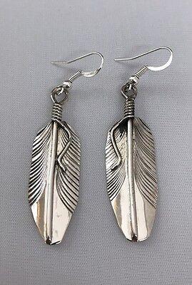 Native American Sterling Silver Navajo Handmade Feather Dangle Earrings