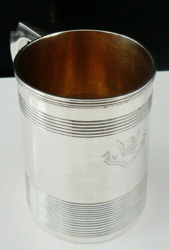 Antique Sterling Silver CRESTED Tankard, Charles Chesterman II, London 1789