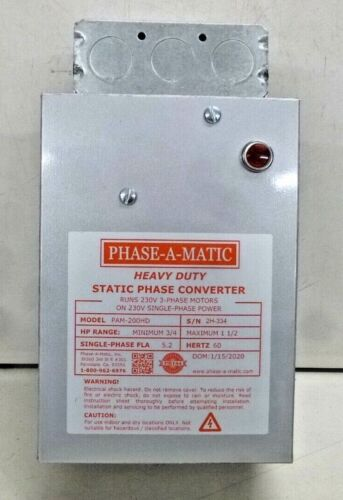 NEW! Phase-A-Matic Pam-200Hd Phase Converter, Static, 3/4-1.5 Hp