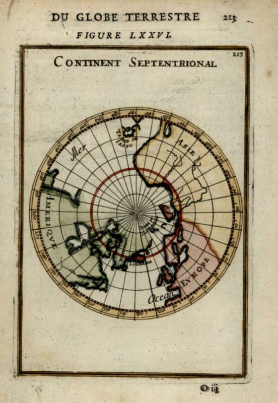 Northern Hemisphere California as Island 1683 Mallet map lovely hand color