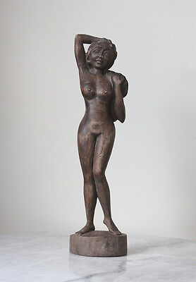 Old 1940s BALI woodcarving, statue nude lady