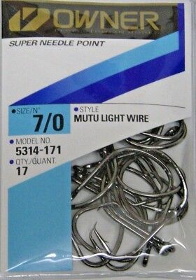 OWNER MUTU LIGHT WIRE CIRCLE HOOKS SALTWATER PRO PACKS ALL SIZES 5314 ALL SIZES ()