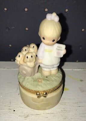 Precious Moments GOD LOVETH A CHEERFUL GIVER Trinket Box Figurine Puppy Dogs