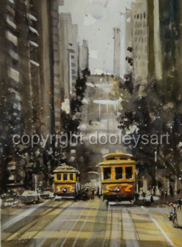 Original watercolor painting San Francisco Cityscape Trollies 15x21 USA artist