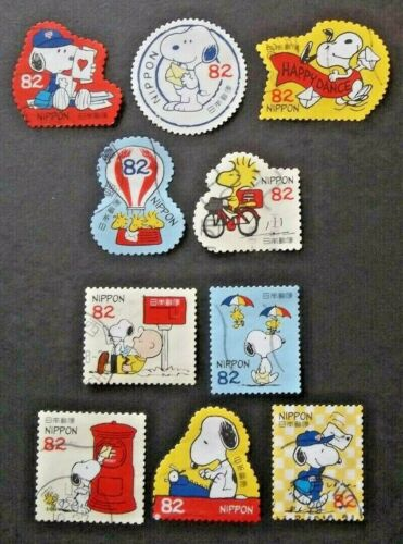 JAPAN USED 2017 #2 PEANUTS & THE MAIL 10 VALUE VF COMPLETE SET SC # 4104 a - j