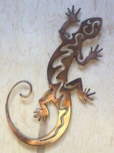 Southwest Lizard Art Rustic Copper Patina Finish Metal Wall Hanging