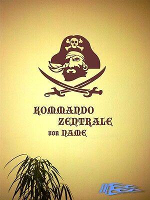 Wandtattoo Kommando Zentrale von Name Geschenkidee 30 oder 60cm Breit (Piraten Dekorationen Ideen)
