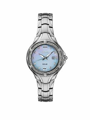Seiko Women's Solar MOP Diamond Accented Stainless Steel Watch SUT371