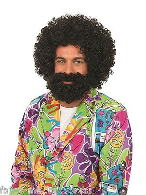 Herren 1960s 60s Schwarz Afro Perücke und Bart Gesichts- Haar Kostüm - Herren 1960 Kostüm