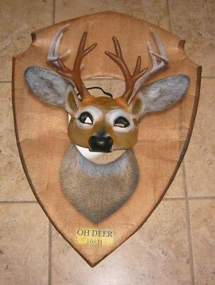 OH DEER HUNTER RACK MASK  & PLAQUE UNIQUE HALLOWEEN COSPLAY COSTUME MEN WOMAN