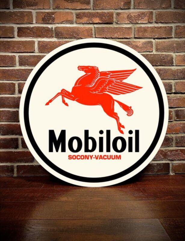 "Mobil Oil Motor Oil Gasoline Sign Heavy Gauge Aluminum 34"" X 34"" HIGH QUALITY"