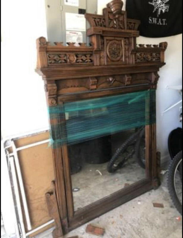 Massive Walnut Victorian Eastlake Aesthetic Period Mantle Mirror