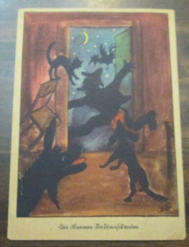 Halloween Postcard German Vintage Circa 1920 Very Unique Black silhouettes